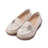 GOOD-DAY 牛皮花朵縫線楔型鞋 米 女鞋
