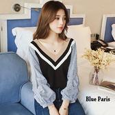 藍色巴黎 ★ 韓版 撞色V領拼接條紋燈籠長袖上衣  T恤《2色》【28308】