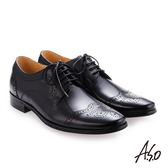 A.S.O 零壓挺力 綁帶蠟感牛皮雕花紳士鞋 黑色