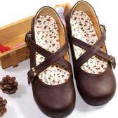 日系娃娃鞋學生森女系搭扣可愛圓頭女鞋