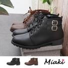 踝靴-英倫綁帶側拉鍊低跟短靴
