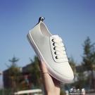 (快出)小白鞋女夏季韓版百搭平底繫帶單鞋女學生休閒鞋皮面透氣板鞋