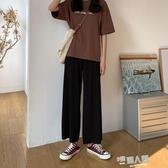 冰絲寬管褲女春夏高腰垂感黑色顯瘦百搭2020新款小個子九分直筒褲