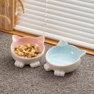 寵物碗 陶瓷貓碗貓咪食盆保護頸椎防打翻斜口水碗小型犬寵物貓盆用品狗碗