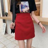 米蘭 2019夏季新款韓版時尚氣質黑色半身裙女高腰顯瘦a字裙包臀短裙潮