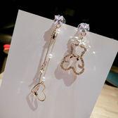 日韓時尚簡約氣質人工水?不對稱耳環