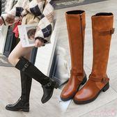 中大碼長靴女過膝靴新款高筒平底瘦瘦長筒靴彈力靴秋冬季加絨靴  AB6231  【Rose中大尺碼】