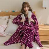 法蘭絨睡袍加厚浴袍三件套 吊帶裙 褲子 睡袍三件套 秋冬睡衣