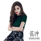 EASON SHOP(GW1185)韓版小高領短袖針織衫毛衣女上衣服豎條螺紋坑條內搭衫彈力貼身緊身包胸素色