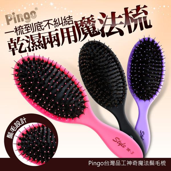 Pingo台灣品工神奇魔法鬃毛梳 耐熱 按摩梳 刮蓬【HAiR美髮網】