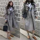 韓國韓系風衣外套長版衣韓國chic純色雙排扣過膝中長款插肩袖寬鬆風衣外套N705-D.6262胖胖唯依