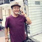 夏季中老年人中年爸爸裝短袖男t恤真口袋老人滌棉寬鬆爺爺純色衫 快速出貨