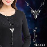 韓版時尚項鍊女花朵毛衣鍊衣服配飾裝飾品掛件百搭長款流蘇掛鍊 DN20577『寶貝兒童裝』