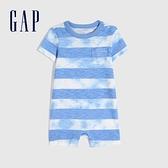Gap嬰兒 純棉紮染圓領連身衣 810289-藍色條紋
