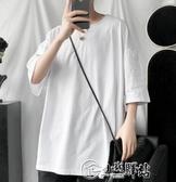 五分袖男韓版潮流百搭寬鬆多色純色純棉半袖chic港風短袖T恤夏季 小城驛站