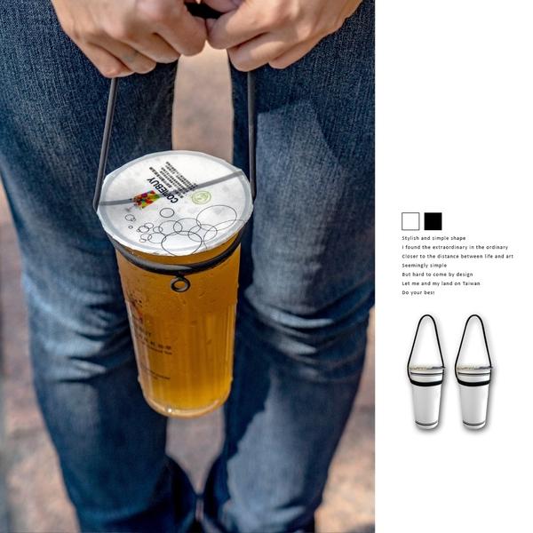 Bone Cup Tie環保杯綁飲料杯提袋再進化簡約黑白款.飲料袋飲料提袋飲料杯袋手提式杯帶杯托杯綁