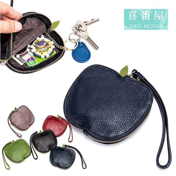 【喜番屋】真皮頭層牛皮女士皮夾皮包錢夾零錢包硬幣包卡片包卡套女包女夾【LH503】