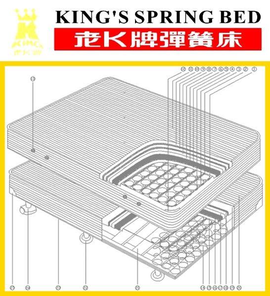 老K牌彈簧床-緹花A級下墊 (一體成型)-3.5*6.2