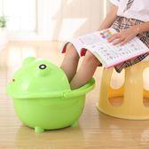 兒童泡腳桶小號加厚寶寶卡通洗腳桶足浴盆塑料帶蓋子保溫洗腳盆xw