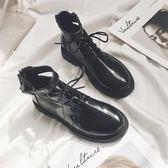 馬丁靴正韓高筒pu英倫復古簡約黑色環扣馬丁靴女潮 【店慶8折促銷】