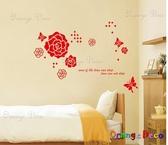 壁貼【橘果設計】紅玫瑰 DIY組合壁貼/牆貼/壁紙/客廳臥室浴室幼稚園室內設計裝潢