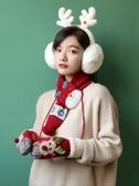 手套女冬季可愛韓版學生保暖加絨加厚棉毛絨防寒冬天掛脖卡通圣誕 喵小姐