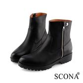 SCONA 蘇格南 全真皮 簡約側拉鍊厚底短靴 黑色 8787-1