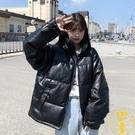 棉服冬季女寬鬆皮面包服棉襖保暖情侶棉衣【雲木雜貨】