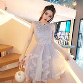 夏裝新款日韓版公主風高腰網紗訂珠伴娘禮服蓬蓬短裙連身裙