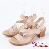 ★2018春夏新品★Kadia.高雅美感真皮後帶粗高跟涼鞋(8308-31裸)
