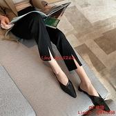 黑色西裝褲女九分褲直筒高腰顯瘦休閑煙管褲子女薄款【CH伊諾】