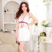 性感睡衣 簡約風格美背線條甜美深V睡襯衣『寵愛佳人』