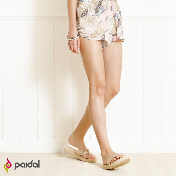 Paidal 氣質綁帶亮蔥款膨膨氣墊美型厚底夾腳拖鞋涼鞋-金