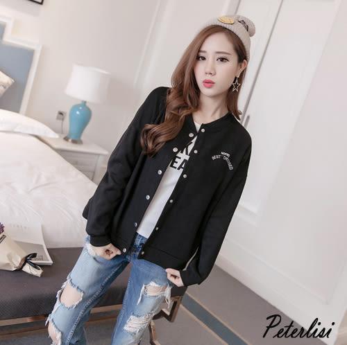 韓版字母刺棒球服休閒夾克衫  2676A 彼得麗絲