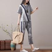 棉麻套裝 棉麻套裝女夏季2020新款休閒亞麻T恤女寬鬆時尚兩件套七分闊腿褲
