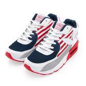 PLAYBOY 美式潮流 條紋拼接氣墊運動鞋-紅藍(女)