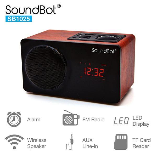 美國聲霸SoundBot SB1025高清7W藍牙喇叭FM廣播時鐘鬧鐘 盒損福利品