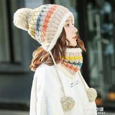 帽子女秋冬季韓版潮百搭甜美可愛女士針織毛線帽冬天保暖護耳新款  朵拉朵衣櫥