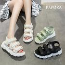 PAPORA休閒平底簡易厚底涼鞋KK7157 黑色/米色