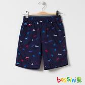 印花輕便短褲05藏藍色-bossini男童