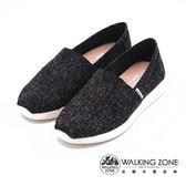 【WALKING ZONE】透氣休閒國民便鞋 女鞋-黑(另有藍、米)