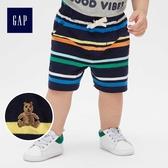 Gap嬰兒 布萊納小熊刺繡條紋休閒短褲 464079-彩色條紋