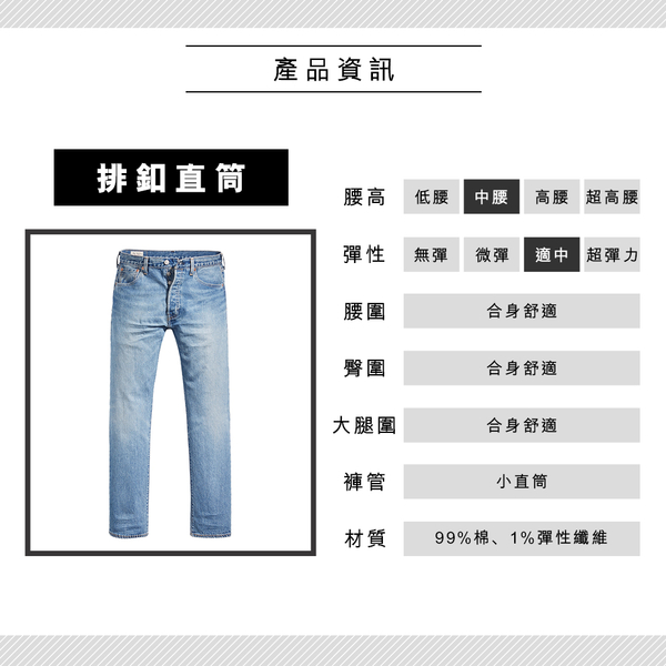 Levis 男款 501 93復刻版排釦直筒牛仔褲 / 淺藍刷白 / 重磅 / 彈性布料