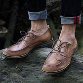 短靴真皮-繫帶時尚休閒百搭做舊男靴子3色73kk61[巴黎精品]