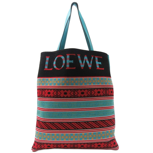 LOEWE 羅威 多色圖騰帆布拚藍綠色牛皮肩背托特包Vertical Knit Tote Bag【BRAND OFF】