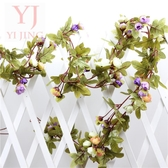 創意歐式仿真玫瑰花藤條假花相框塑料絹花臥室客廳床頭裝飾花壁掛
