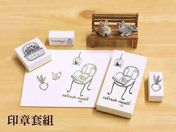 韓國文具Somssi natural stamp 卡通可愛印章套裝 refresh myself-B款《生活美學》