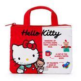 〔小禮堂〕Hello Kitty 厚棉扁平手提化妝包《紅》收納包.筆袋.45週年紀念系列 4901610-20626