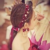 新娘頭飾 新娘敬酒服頭飾中式酒紅色髮帶簡約仙美髮飾結婚超仙配飾簡單大氣 童趣屋 免運
