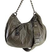 【奢華時尚】CHANEL深橄欖綠色菱格紋牛皮霧銀鍊肩背斜背兩用馬鞍包(八八成新)#24773